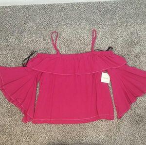 NWT Meraki Pink off the shoulder bell sleeve top